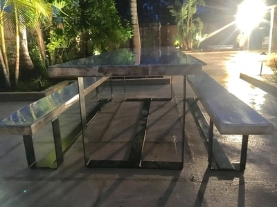 Reclaimed And Distressed Custom Outdoor Furniture For An